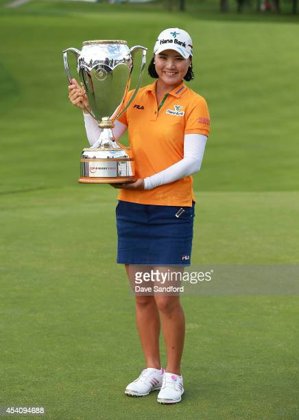 So Yeon Ryu of South Korea holds the championship trophy after her two stroke victory during the fourth round of the LPGA Canadian Pacific Women's...