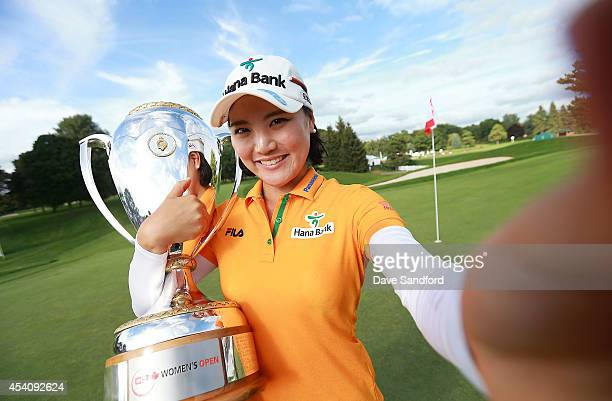 So Yeon Ryu of South Korea imitates a 'selfie' as she celebrates her two stroke victory during the fourth round of the LPGA Canadian Pacific Women's...