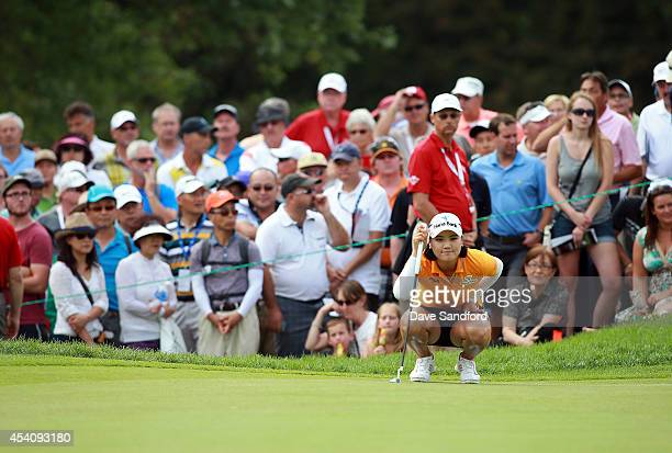 So Yeon Ryu of South Korea lines up her putt on the 16th hole during the fourth round of the LPGA Canadian Pacific Women's Open at the London Hunt...