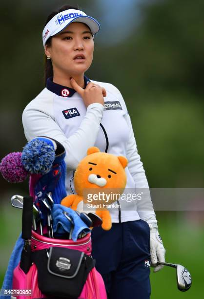 So Yeon Ryu of South Korea looks on during the pro am prior to the start of The Evian Championship at Evian Resort Golf Club on September 13 2017 in...