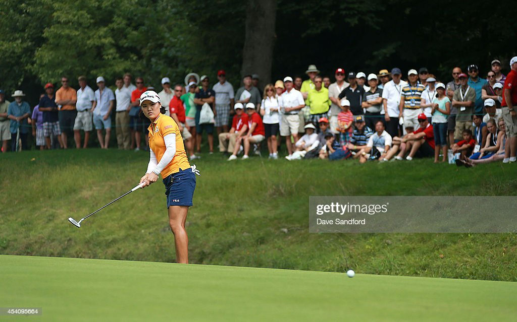 So Yeon Ryu of South Korea makes a putt on the 10th hole during the fourth round of the LPGA Canadian Pacific Women's Open at the London Hunt and Country Club on August 24, 2014 in London, Ontario, Canada.