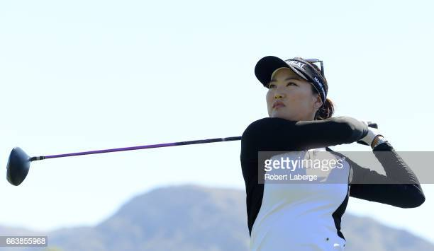So Yeon Ryu of South Korea makes a tee shot on the fourth hole during the final round of the ANA Inspiration on the Dinah Shore Tournament Course at...