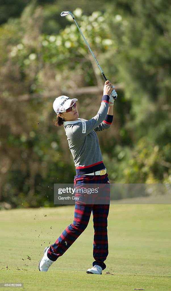 So Yeon Ryu of South Korea, plays a chip shot on the fairway, during the last day of the Swinging Skirts 2013 World Ladies Masters, at Miramar Golf & Country Club on December 8, 2013 in Taipei, Taiwan.
