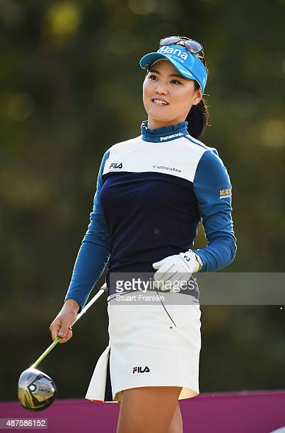 So Yeon Ryu of South Korea plays a shot during the first round of the Evian Championship Golf on September 10 2015 in EvianlesBains France