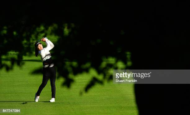 So Yeon Ryu of South Korea plays a shot during the weather delayed first round of The Evina Championship at Evian Resort Golf Club on September 15...