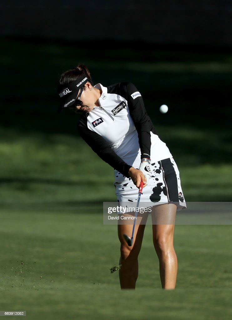 So Yeon Ryu of South Korea plays her second shot on the 15th hole during the final round of the 2017 ANA Inspiration held on the Dinah Shore Tournament Course at the Mission Hills Country Club on April 2, 2017 in Rancho Mirage, California.
