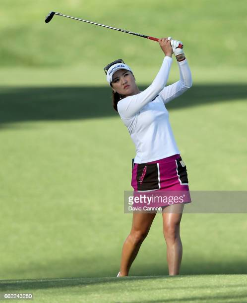 So Yeon Ryu of South Korea plays her second shot on the par 5 11th hole during the second round of the 2017 ANA Inspiration held on the Dinah Shore...