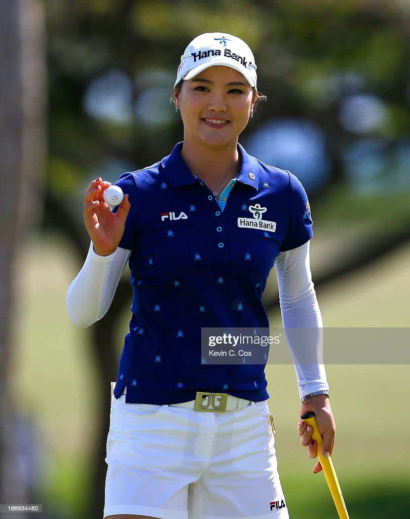 So Yeon Ryu of South Korea reacts after her putt on ninth green during the second round of the LPGA LOTTE Championship Presented by J Golf at the Ko Olina Golf Club on April 18, 2013 in Kapolei, Hawaii.