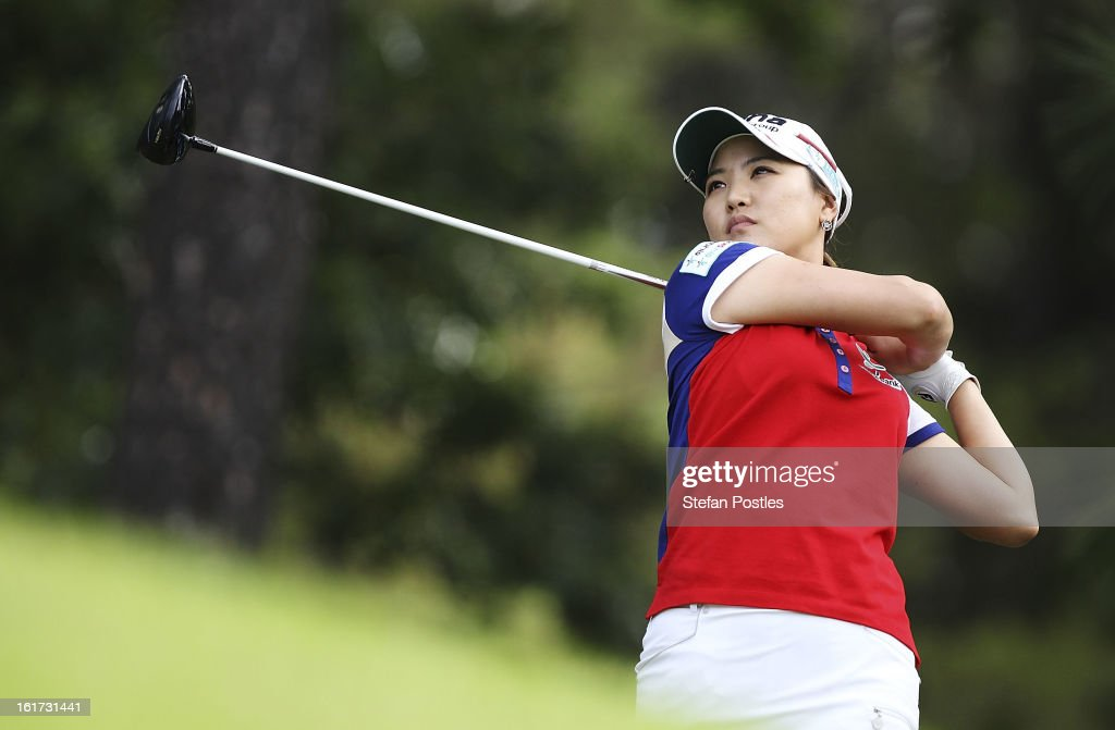 So Yeon Ryu of South Korea tee's off during day two of the ISPS Handa Australian Open at Royal Canberra Golf Club on February 15, 2013 in Canberra, Australia.