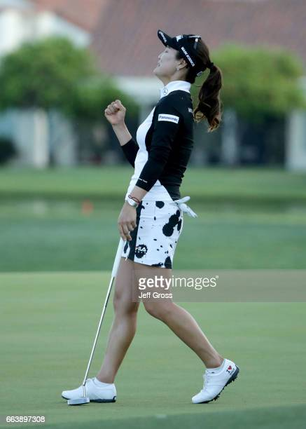 So Yeon Ryu of the Republic of Korea celebrates after defeating Lexi Thompson in a playoff during the final round of the ANA Inspiration at the Dinah...