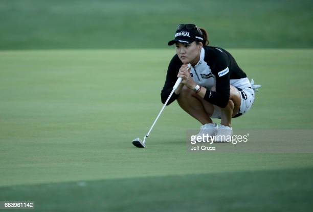 So Yeon Ryu of the Republic of Korea lines up a putt on the 18th green during the final round of the ANA Inspiration at the Dinah Shore Tournament...