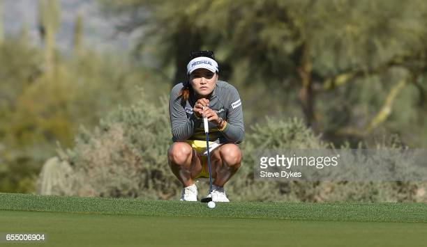 So Yeon Ryu of the Republic of Korea lines up her putt on the 14th hole during the the third round of the Bank Of Hope Founders Cup at Wildfire Golf...