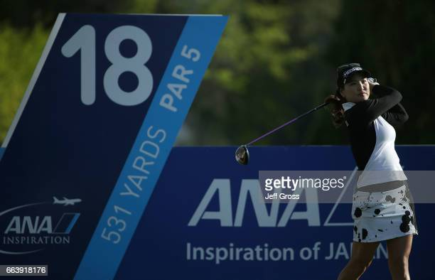So Yeon Ryu of the Republic of Korea plays her tee shot on the 18th hole during the final round of the ANA Inspiration at the Dinah Shore Tournament...