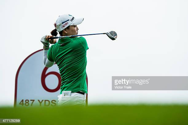 So Yeon Ryu tees off on the 6th tee during round one of the World Ladies Championship at Mission Hills' Blackstone Course on March 7 2014 in Hainan...