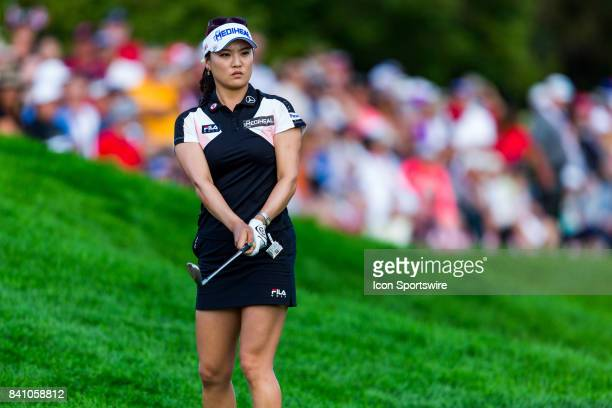 So Yeon Ryu watches her shot from the rough on the 18th hole during the final round of the Canadian Pacific Women's Open on August 27 2017 at The...