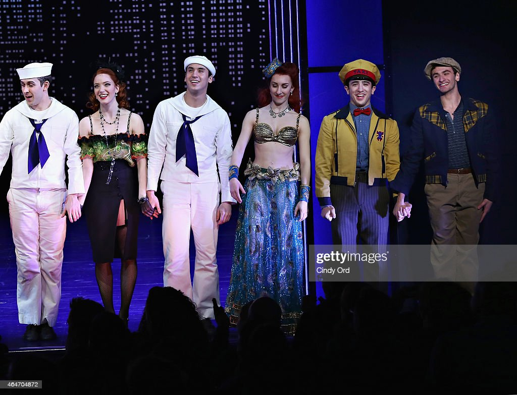 'So You Think You Can Dance' winner Ricky Ubeda participates in a cast curtain call following his debut performance in Broadway's 'On The Town' at...