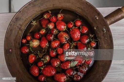 Soaked strawberry : Stock Photo