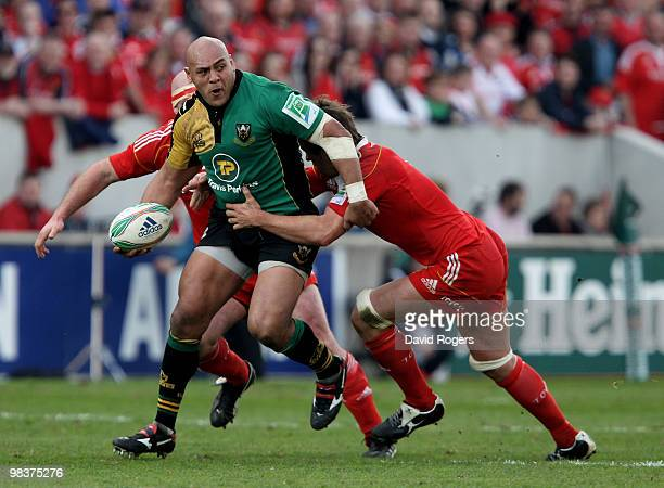 Soane Tonga'huia of Northampton charges forward during the Heineken Cup quarter final match between Munster and Northampton Saints at Thomond Park on...