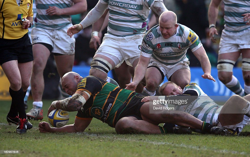 Soane Tonga'uiha of Northampton dives over for their third try during the Aviva Premiership match between Northampton Saints and London Irish at Franklin's Gardens on March 2, 2013 in Northampton, England.