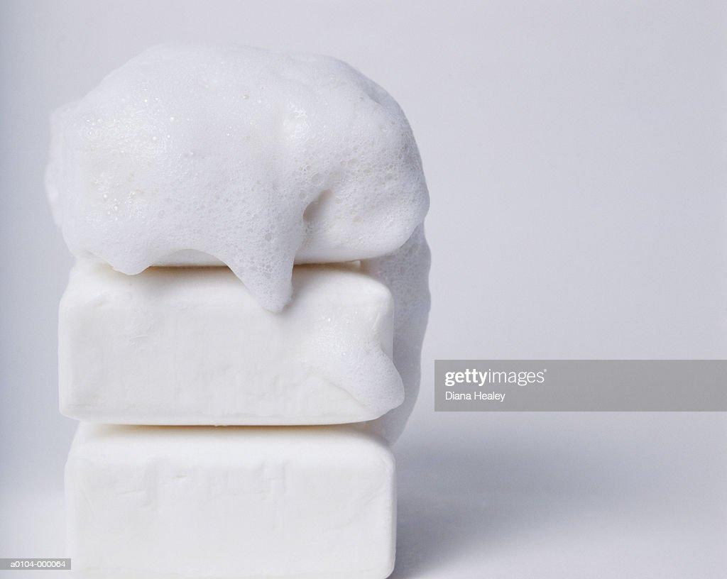 Soap Bubbles on Bars of Soap : Stock Photo