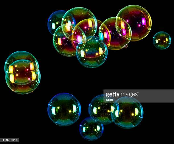 Soap bubbles on black background