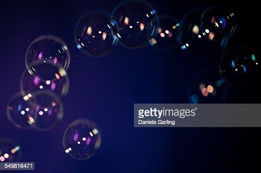 Soap Bubbles on dark blue background