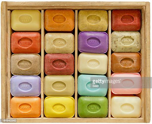 Soapbar collection in wooden box