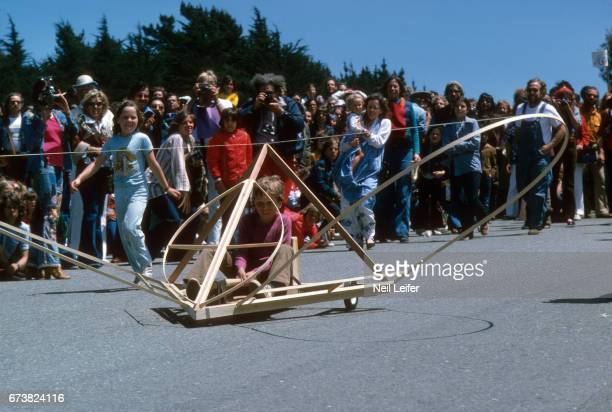 1st SFMMA Artists' Soap Box Derby View of racer in custommade car during event at McLaren Park The event was organized by the San Francisco Museum of...