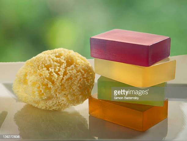Soaps made of glycerine, with natural sponge