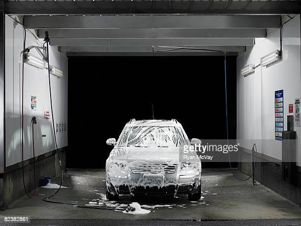 Soapy car at self service car wash
