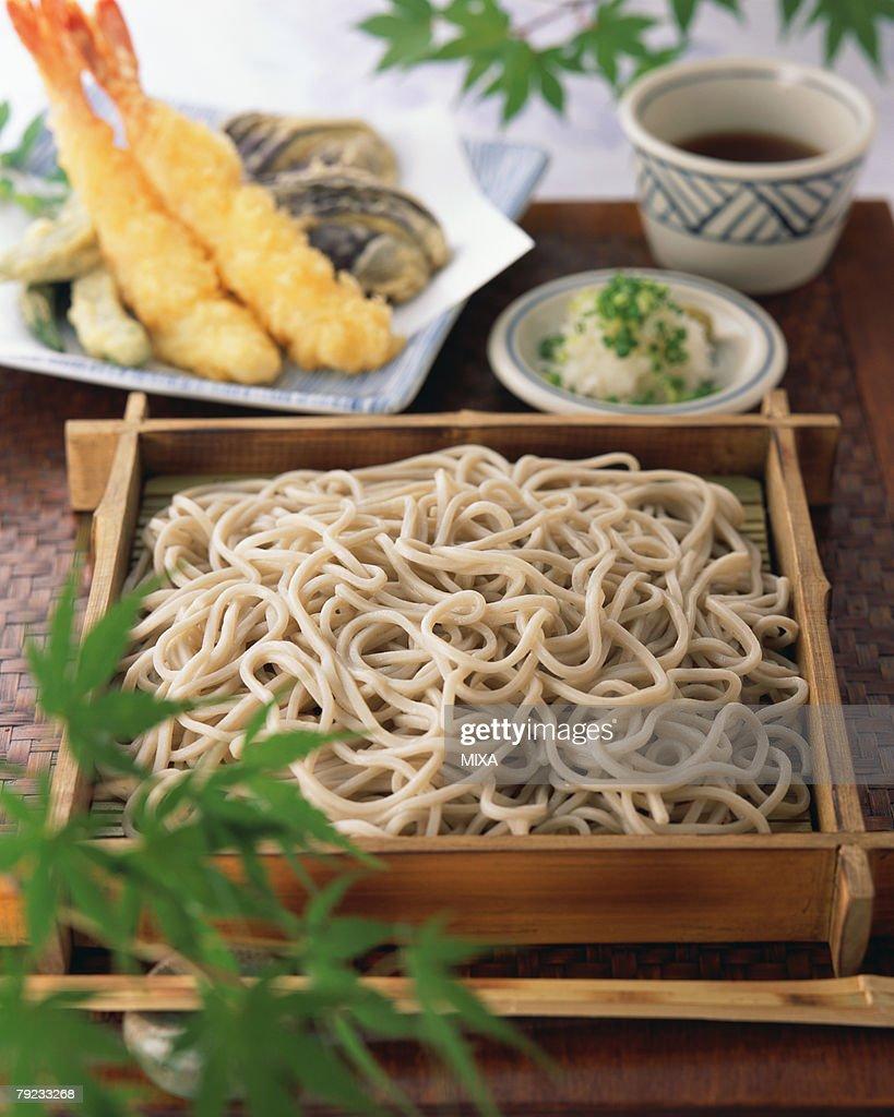 Soba noodle and shrimp tempura : Stock Photo
