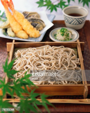 Soba noodle and shrimp tempura : Stock Photo