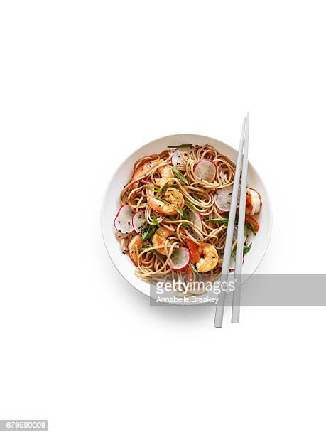 Soba noodle stir fry with shrimp and radishes