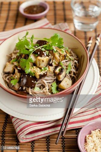 Soba noodles salad with roasted eggplant