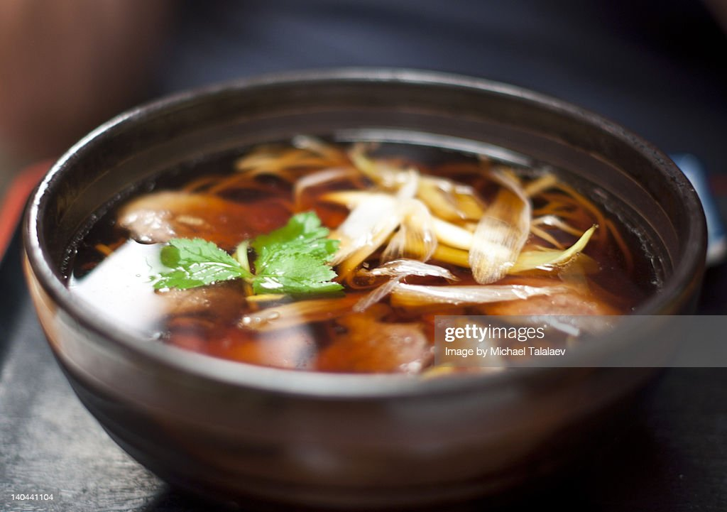 Soba with duck and scallions : Stock Photo
