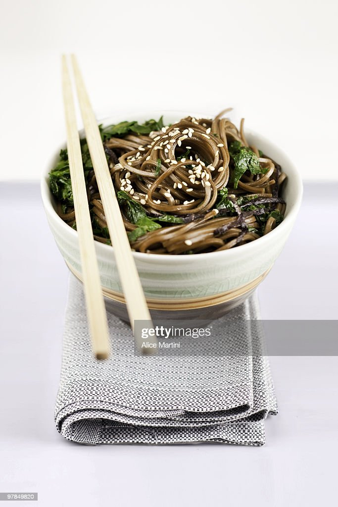 Soba with spinach and chard : Stock Photo