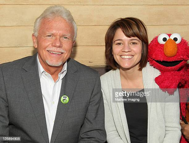 PBS SoCal President Mel Rogers actress Anna Belknap and Elmo attend the PBS SoCal Kids Event at the Jim Henson Company Studios on January 28 2011 in...