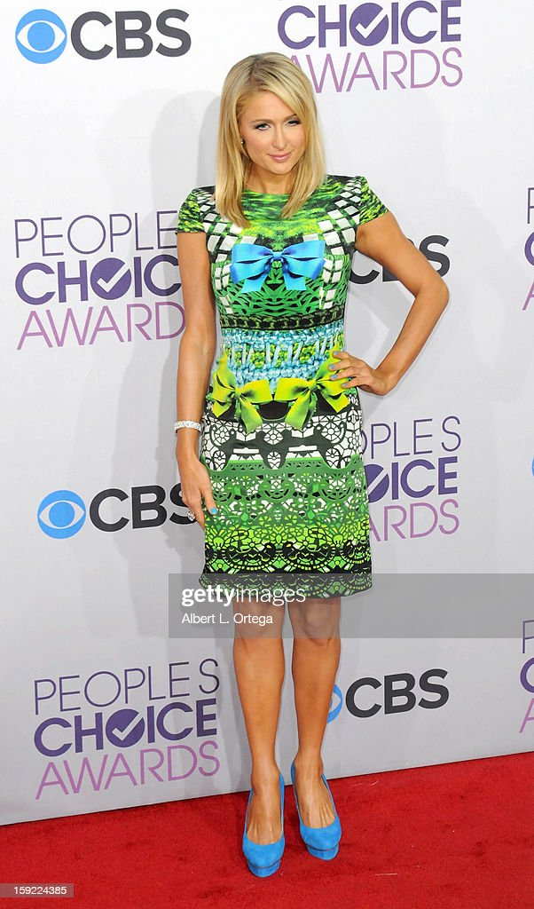 Socalite Paris Hilton arrives for the 34th Annual People's Choice Awards - Arrivals held at Nokia Theater at L.A. Live on January 9, 2013 in Los Angeles, California.