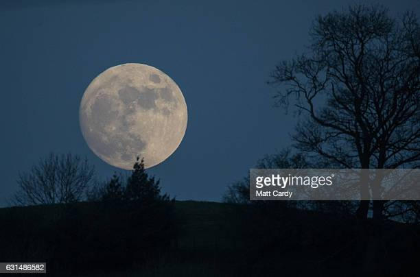 A socalled wolf moon rises over Glastonbury Tor on January 11 2017 in Somerset England In some parts of the world the January full moon is nicknamed...