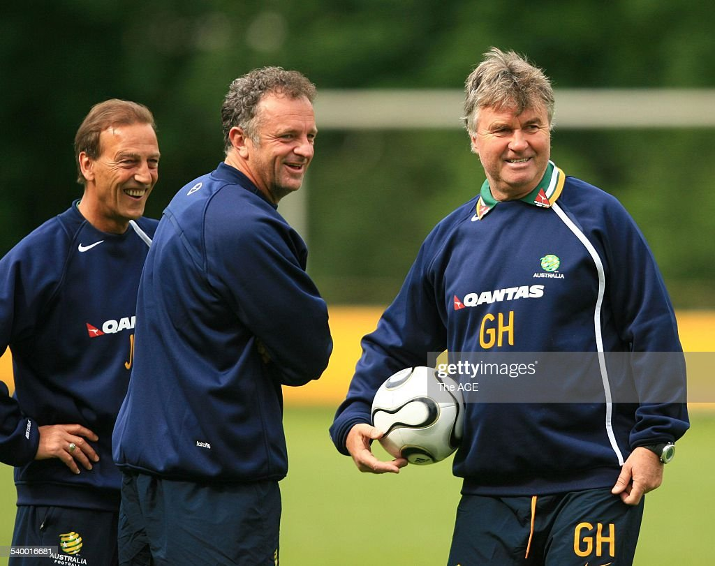 Soccer 2006 Guus Hiddink right with Graham Arnold centre and