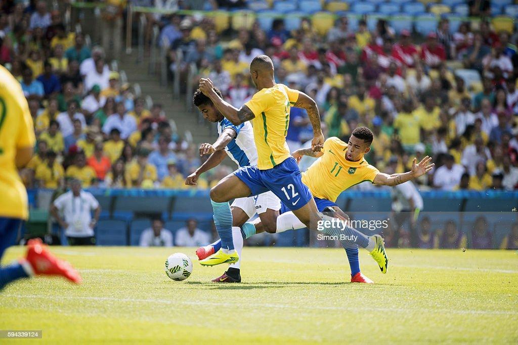 2016 Summer Olympics Brazil Gabriel Jesus and Wallace in action vs Honduras during Men's Semifinals match at Maracana Stadium Rio de Janeiro Brazil...