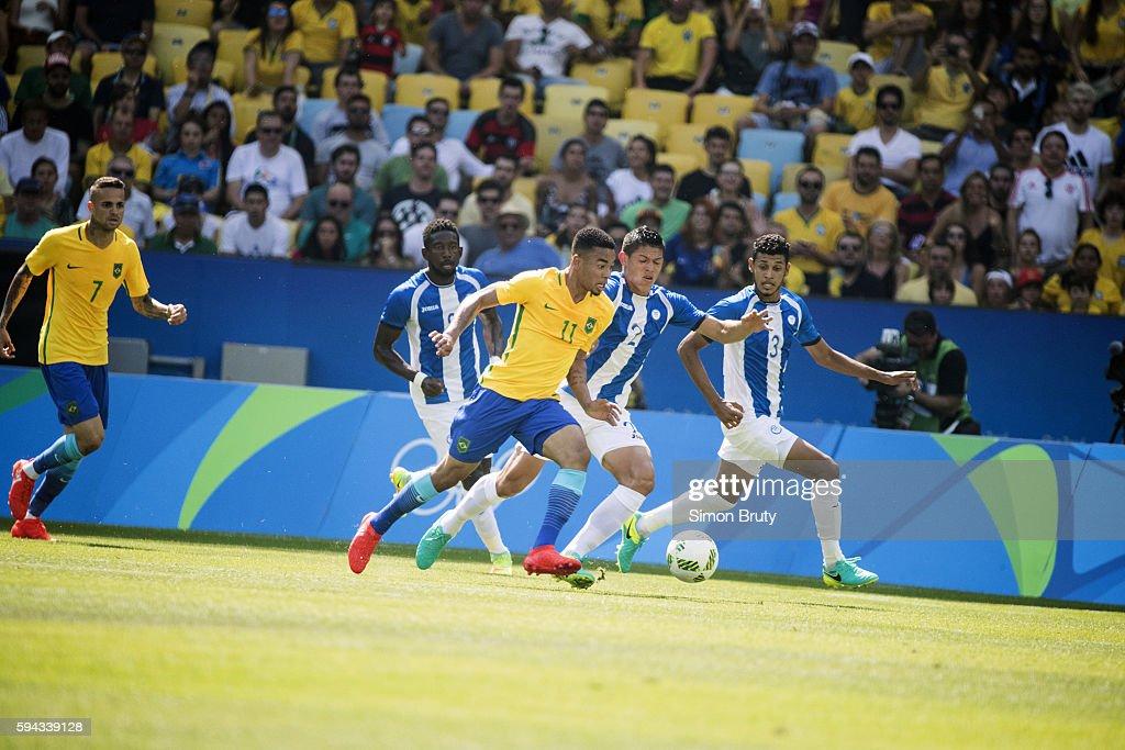 2016 Summer Olympics Brazil Gabriel Jesus in action vs Honduras during Men's Semifinals match at Maracana Stadium Rio de Janeiro Brazil 8/17/2016...