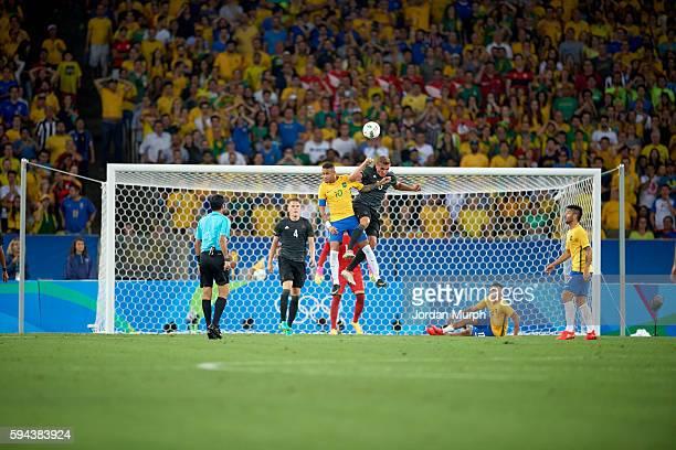 2016 Summer Olympics Brazil Neymar in action heading ball vs Germany Grischa Promel during Men's Final Gold Medal match at Maracana Stadium Brazil...