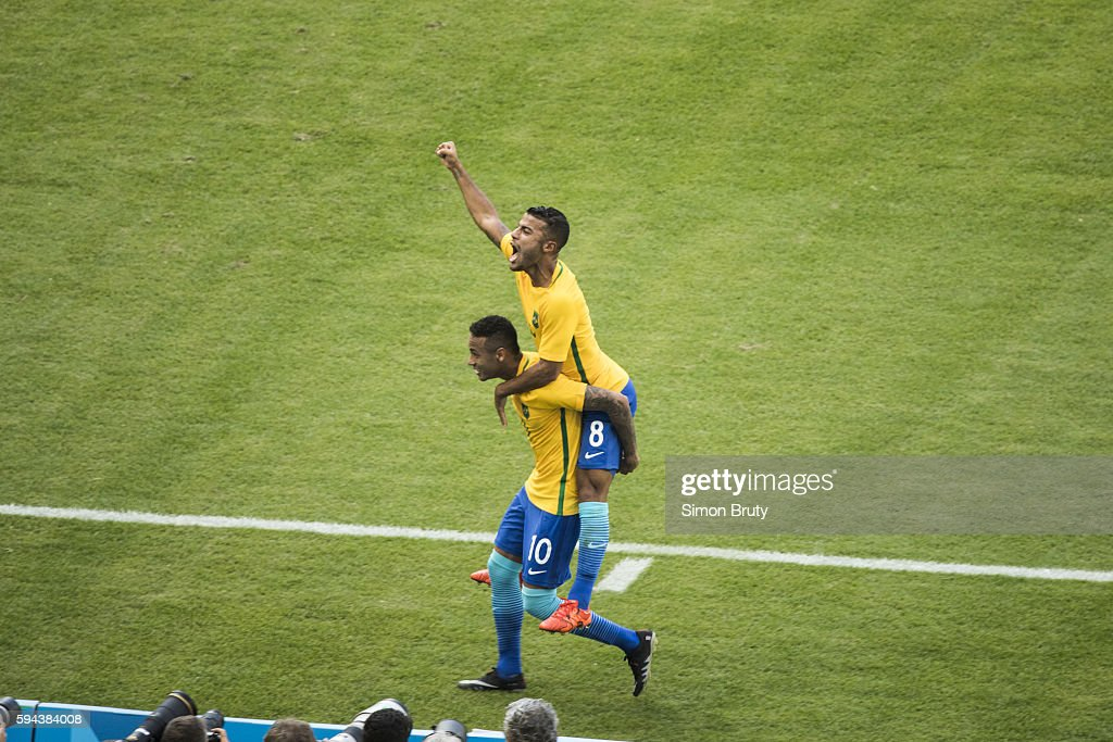 2016 Summer Olympics Brazil Rafinha victorious on the shoulders of Neymar during Men's Semifinal vs Honduras at Maracana Stadium Rio de Janeiro...