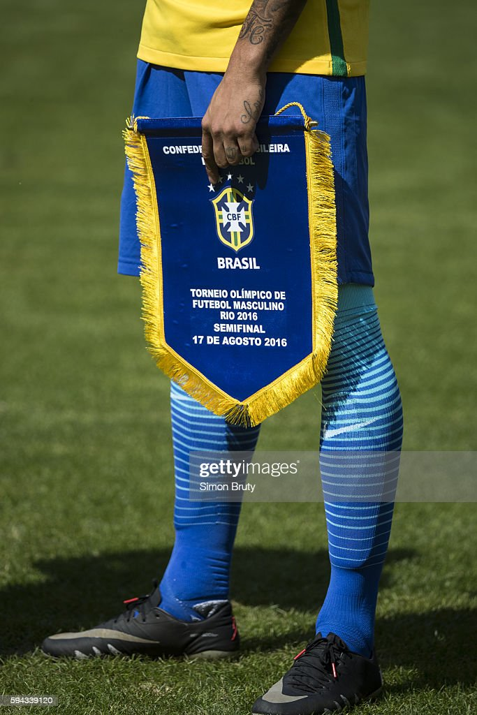 2016 Summer Olympics Closeup of banner held by Brazil Neymar that reads MEN'S OLYMPIC SOCCER TOURNAMENT 2016 SEMIFINAL AUGUST 17 during anthem before...
