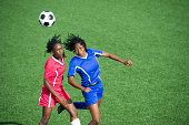 """""""Two female soccer players competing for the ball, aerial view.See more like this here:"""""""