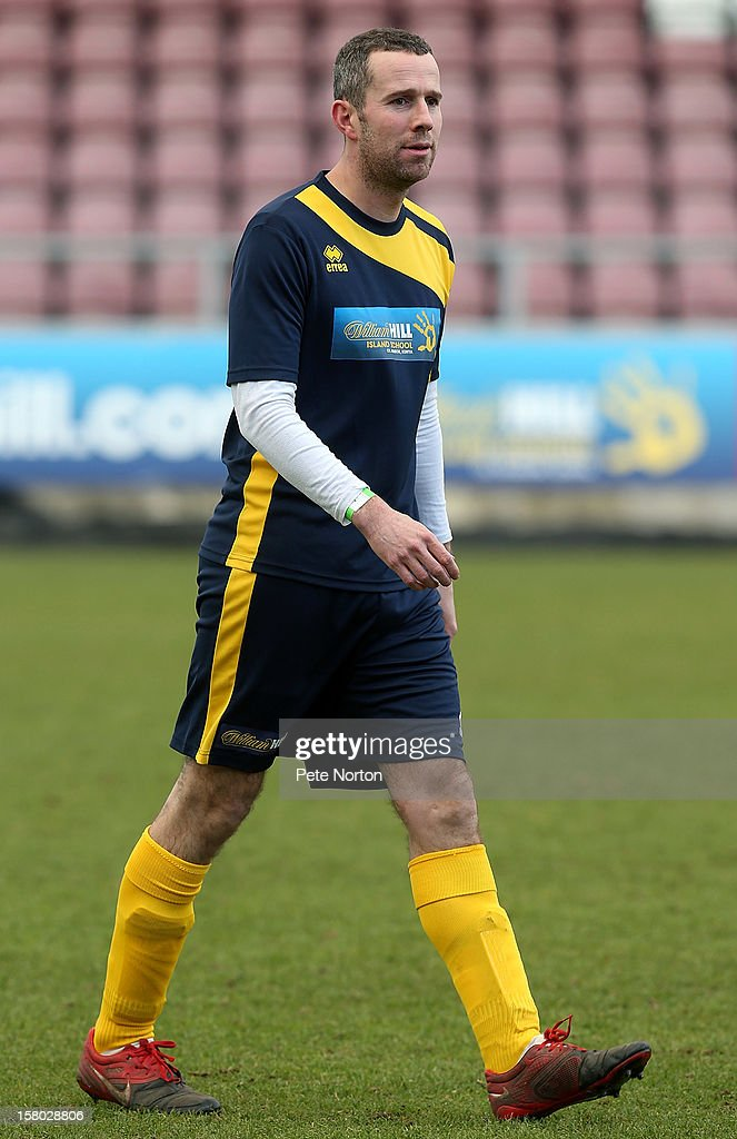 Soccer AM presenter Max Rushton in action during the William Hill Foundation Cup Celebrity Charity Challenge Match at Sixfields on December 9, 2012 in Northampton, England.