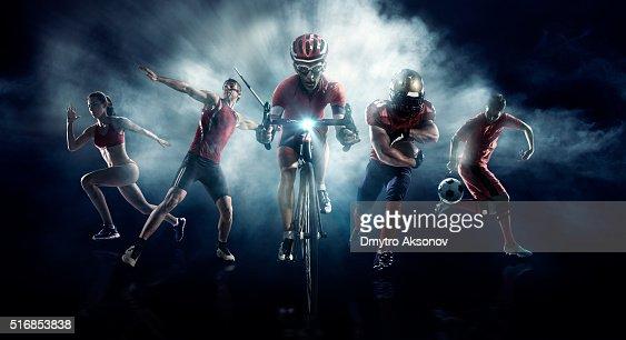 Soccer, American football, Javelin, Cycle, Athletics