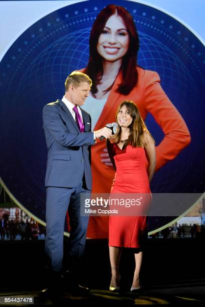 Soccer analyst Alexi Lalas and reporter Maria Komandnaya speaking at FOX Sports 2018 FIFA World Cup Celebration on September 26 2017 at ArtBeam in...