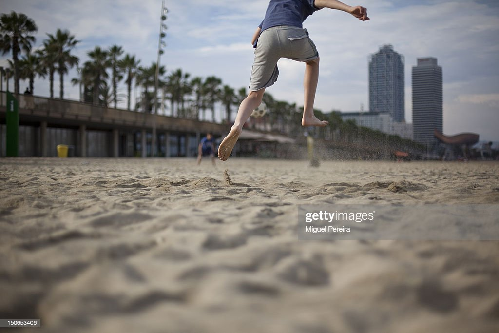 Soccer at the beach. : Stock Photo